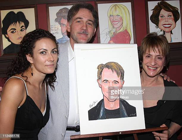 Laura Benanti Boyd Gaines and Patti LuPone who all star in 'Gypsy' pose while Boyd Gaines receives his caricature on the Broadway Hall of Fame at...