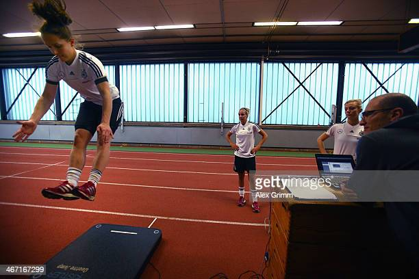 Laura Benkarth exercises during a performance test of the German women's national team at Sporthochschule on February 6 2014 in Cologne Germany