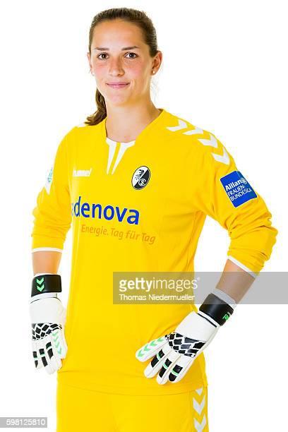 Laura Benkarth of SC Freiburg poses during the Allianz Women's Bundesliga Club Tour on August 31 2016 in Freiburg im Breisgau Germany