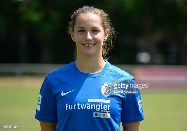 Laura Benkarth poses during SC Freibug women's team presentation on July 11 2015 in Freiburg im Breisgau Germany