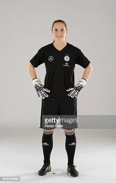 Laura Benkarth poses in the new home jersey of the German women's national soccer team on November 25 2016 in Chemnitz Germany