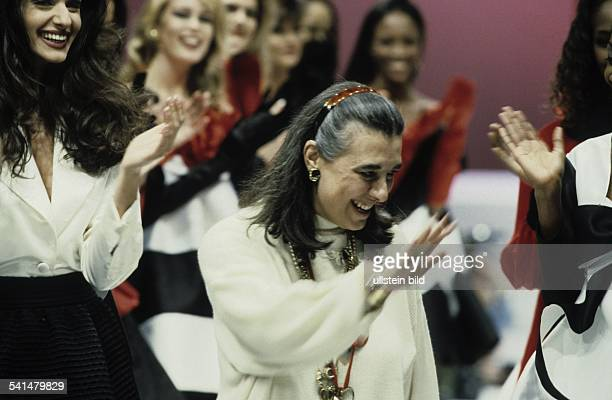 Laura Biagiotti fashion designer Italy with models on the catwalk after the presentation of her collection March 1992