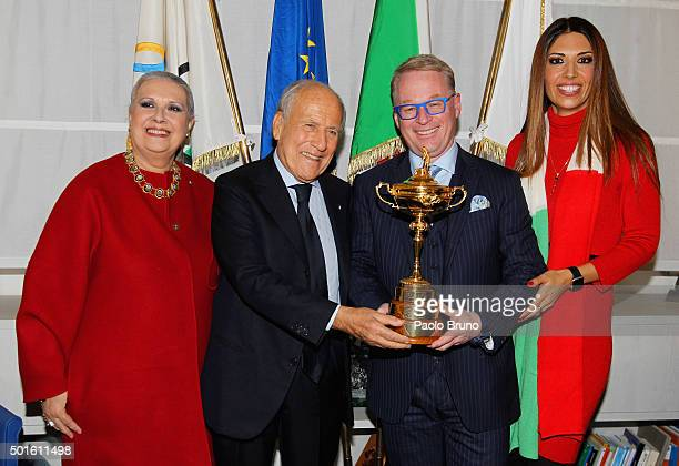 Laura Biagiotti Italian Golf Federation President Franco Chimenti and European Tour CEO Keith Pelley and Lavinia Biagiotti pose with the Ryder Cup...