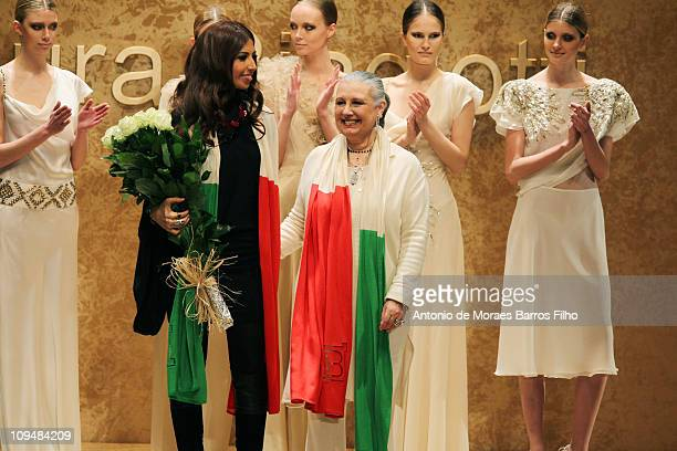 Laura Biagiotti walks the runway during the Laura Biagiotti show as part of Milan Fashion Week Womenswear Autumn/Winter 2011 on February 27 2011 in...