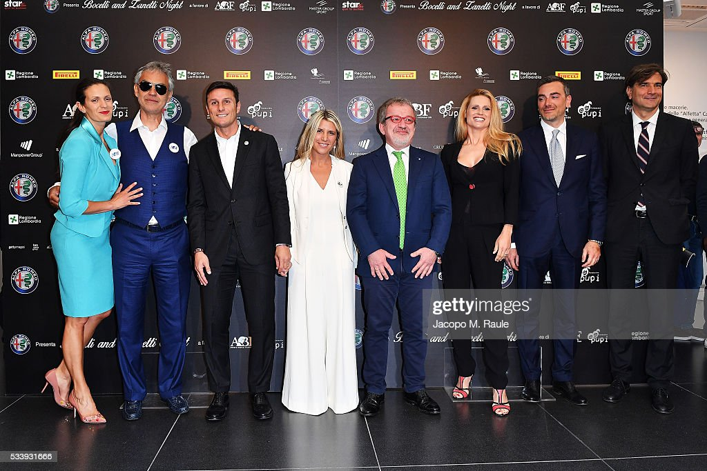 Laura Biancalani ,Andrea Bocelli, Javier Zanetti, Paula Zanetti, Roberto Maroni, Michelle Hunziker, Fabrizio Curci and Giancarlo Scheri attend Bocelli and Zanetti Night press conference on May 24, 2016 in Arese, Italy.