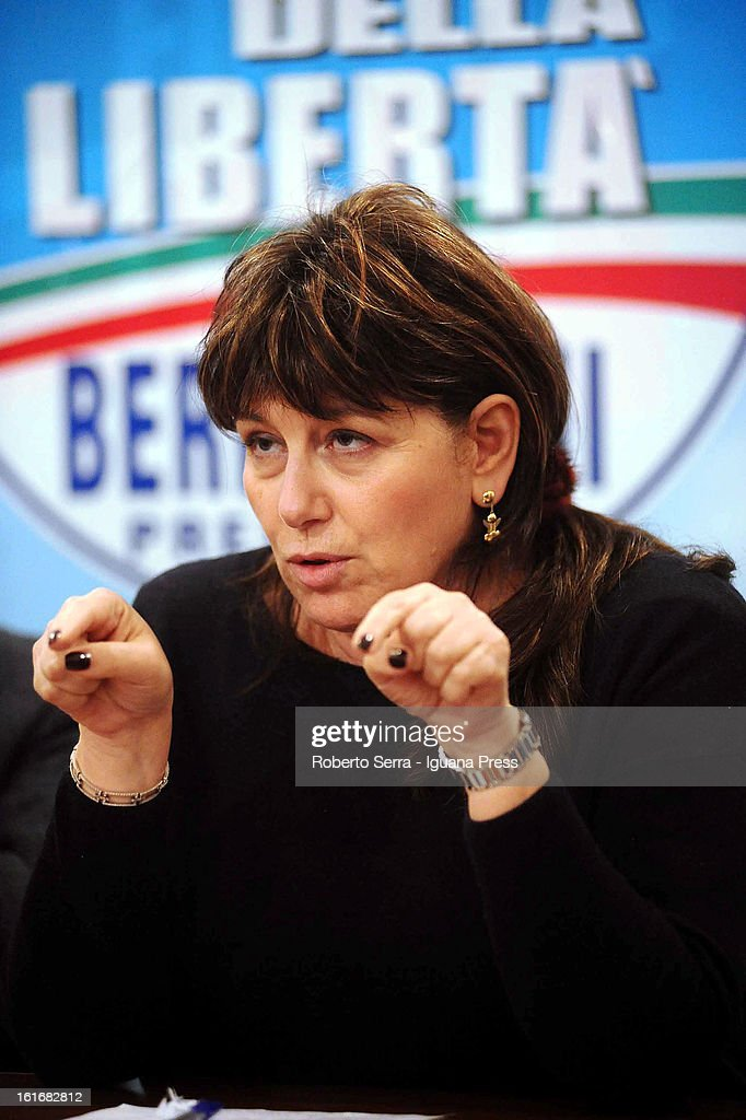 Laura Bianconi candidate to next parliamentary elections for PdL party (Popolo delle Liberta) attends an electoral event in the PdL's headquarters on February 13, 2013 in Bologna, Italy.