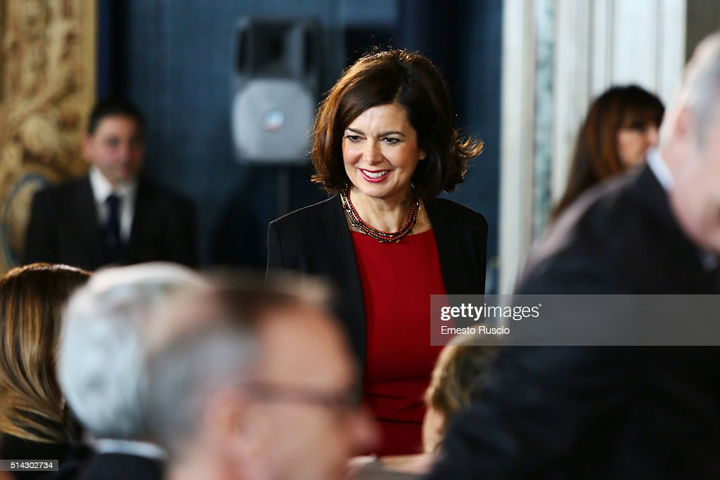 <a gi-track='captionPersonalityLinkClicked' href=/galleries/search?phrase=Laura+Boldrini&family=editorial&specificpeople=4364882 ng-click='$event.stopPropagation()'>Laura Boldrini</a> attends the celebrations for International Women's Day at Palazzo del Quirinale on March 8, 2016 in Rome, Italy.