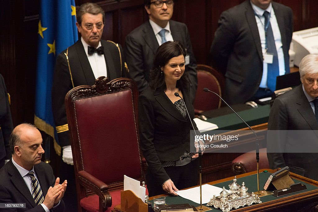 Laura Boldrini, deputy for SEL civic list, is nominated the new President of the Chambers of Deputy on March 16, 2013 in Rome, Italy. The new Italian parliament, which opens the 17th Legislature, has the task of electing the President of the House of Parliament and of the Senate, before giving way to a new government.