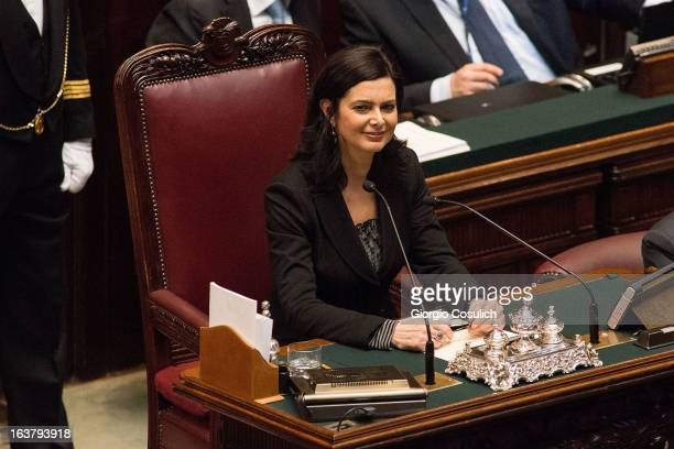 Laura Boldrini deputy for SEL civic list smiles as she is nominated as the new President of the Chambers of Deputy on March 16 2013 in Rome Italy The...