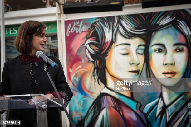 Laura Boldrini during On the occasion of the World Day of Kindness Instagram inaugurates #KindCommentsWall of Testaccio a mural created by local...