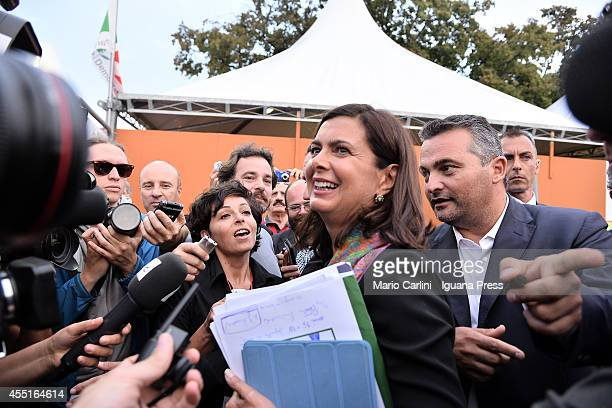 Laura Boldrini President of the Chamber of Deputies of the Italian Republic attends the Festa Nazionale dell'Unità at Parco Nord on September 5 2014...