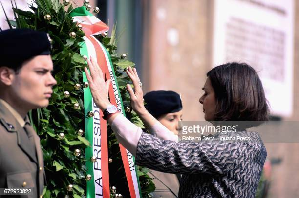 Laura Boldrini President of the Italian Parliament Chamber of Deputies attends the celebrations for the Liberation Day from the nazism and the...