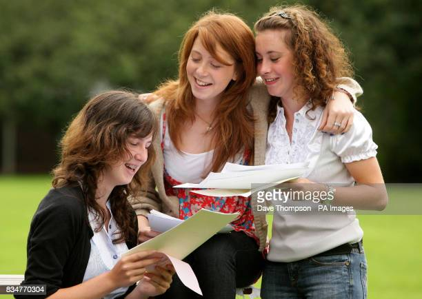 Laura Bonney Laura Deslandes and Darcie Mulhearn celebrate getting their GCSE results at Manchester High School for Girls in Manchester