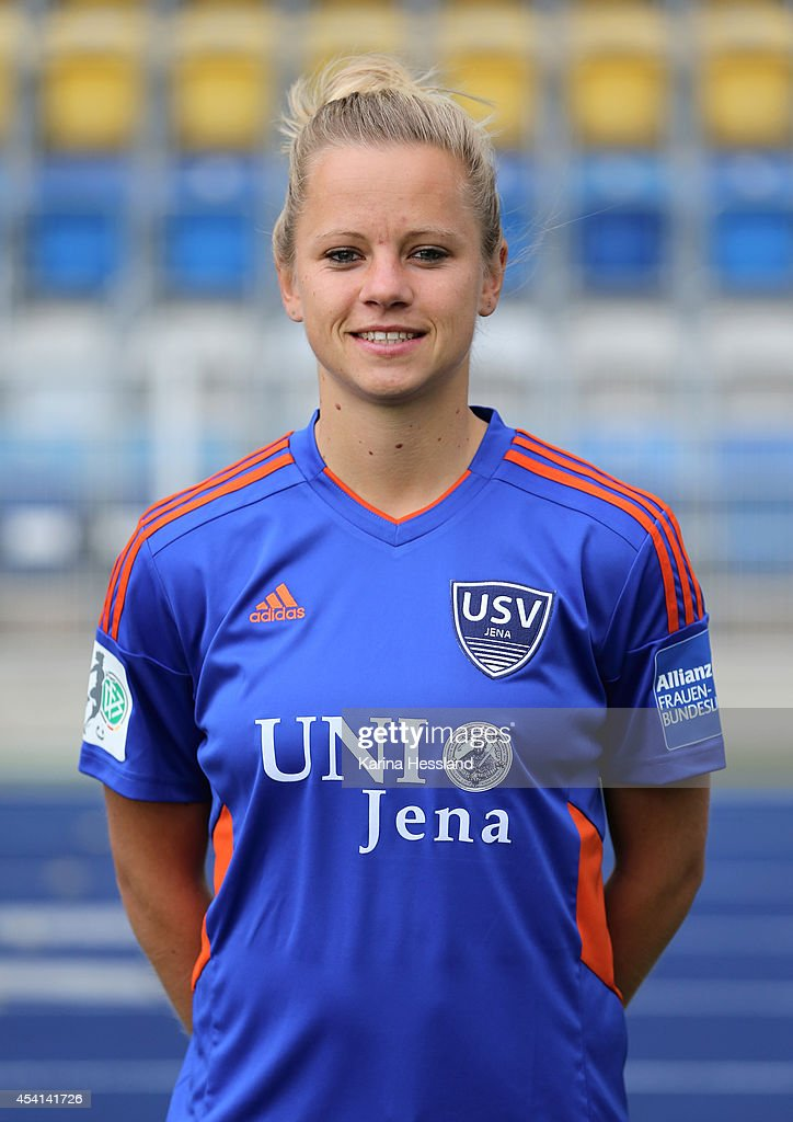 Laura Brosius poses during the Team Presentation of FF USV Jena Women's at ErnstAbbeSportfeld on August 25 2014 in Jena Germany