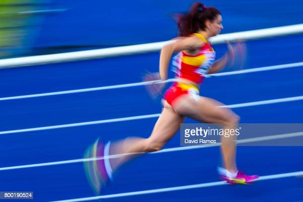 Laura Bueno of Spain competes in the Women's 400m heat 1 during day 1 of the European Athletics Team Championships at the Lille Metropole stadium on...