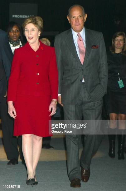 Laura Bush and Oscar de la Renta during Laura Bush Ambassador for the Heart Truth Heart Disease Awareness Campaign visits Olympus Fashion Week at The...