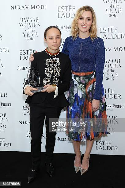 Laura Carmichael and Grace Wales Bonner attend Audemars Piguet Sponsor Of The Harper's Bazarre Women Of The Year Awards 2016 at Claridges Hotel on...