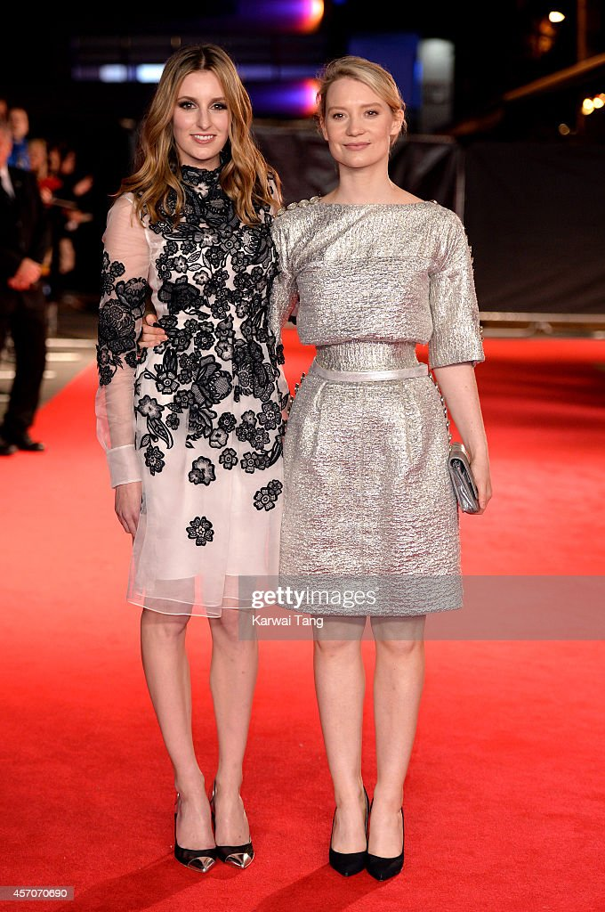 Laura Carmichael and Mia Wasikowska attend a screening of 'Madame Bovary' during the 58th BFI London Film Festival at Odeon West End on October 11, 2014 in London, England.
