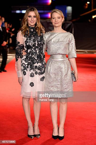 Laura Carmichael and Mia Wasikowska attend a screening of 'Madame Bovary' during the 58th BFI London Film Festival at Odeon West End on October 11...