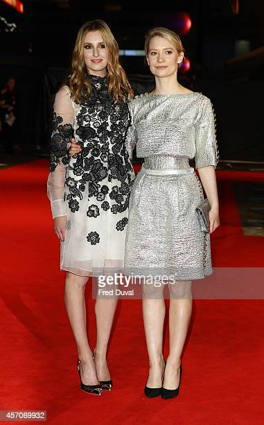 Laura Carmichael and Mia Wasikowska attends a screening of 'Madame Bovary' during the 58th BFI London Film Festival at Odeon West End on October 11...