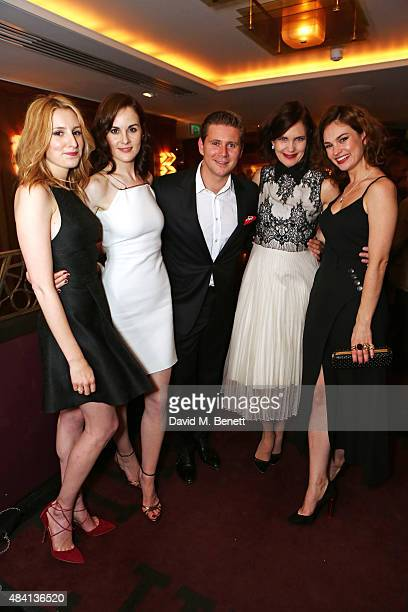 Laura Carmichael Michelle Dockery Allen Leech Elizabeth McGovern and Lily James attend the Downton Abbey wrap party at The Ivy on August 15 2015 in...
