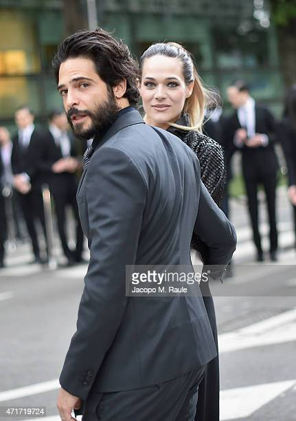 Laura Chiatti and Marco Bocci attend the Giorgio Armani 40th Anniversary Silos Opening And Cocktail Reception on April 30 2015 in Milan Italy
