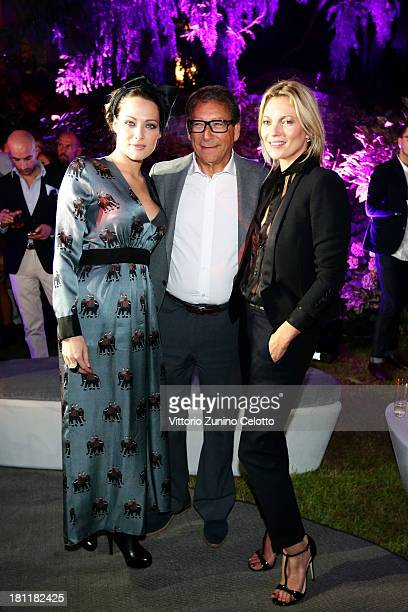 Laura Chiatti Stuart Weitzman and Kate Moss attend the Kate Moss Celebrates Stuart Weitzman Flagship Store Opening Designed By Zaha Hadid as a part...
