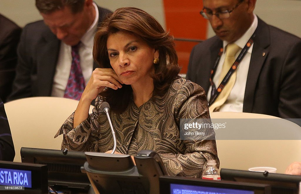 Laura Chinchilla President of Costa Rica attends the 68th session of the United Nations General Assembly on September 25 2013 in New York City