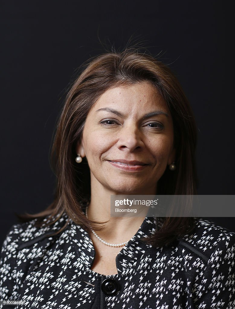 Laura Chinchilla president of Costa Rica poses for a photograph following a Bloomberg Television interview on day two of the World Economic Forum in...