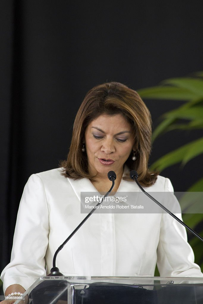 <a gi-track='captionPersonalityLinkClicked' href=/galleries/search?phrase=Laura+Chinchilla&family=editorial&specificpeople=646370 ng-click='$event.stopPropagation()'>Laura Chinchilla</a>, President of Costa Rica talks during the signing of cooperation agreements with the President of the Republic of China, Xi Jinping on June 2, 2013 in San Jose, Costa Rica.