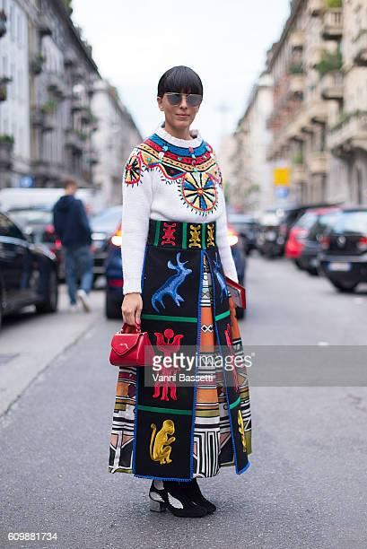 Laura Comodi poses wearing Stella Jean before the N21 show during Milan Fashion Week Spring/Summer 2017 on September 21 2016 in Milan Italy