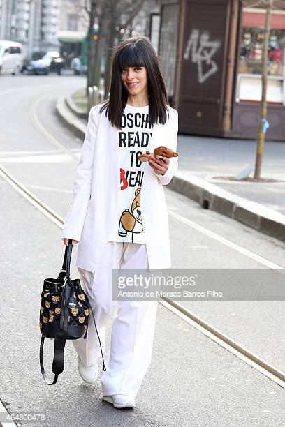 Laura Comolli is seen in the streets of Milan arriving at the Jil Sander show during Milan Fashion Week 2015 on February 28 2015 in Milan Italy