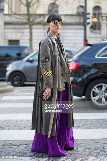 Laura Comolli poses after the Balmain show at the Hotel Potocki during Paris Fashion Week Womenswear FW 17/18 on March 2 2017 in Paris France
