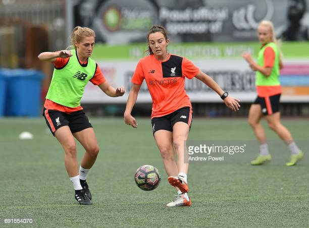 Laura Coombs and Caroline Weir of Liverpool Ladies during a training session at Select Security Stadium on June 2 2017 in Widnes England