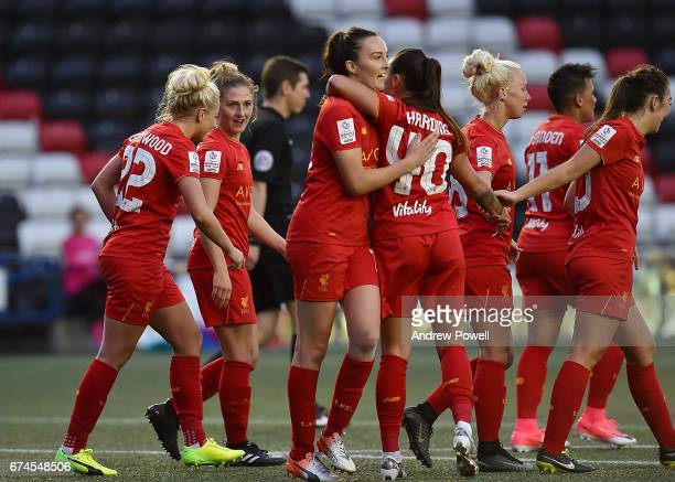 Laura Coombs of Liverpool Ladies celebrates after scoring the fourth making it 42 during a Women's Super League match between Liverpool Ladies and...