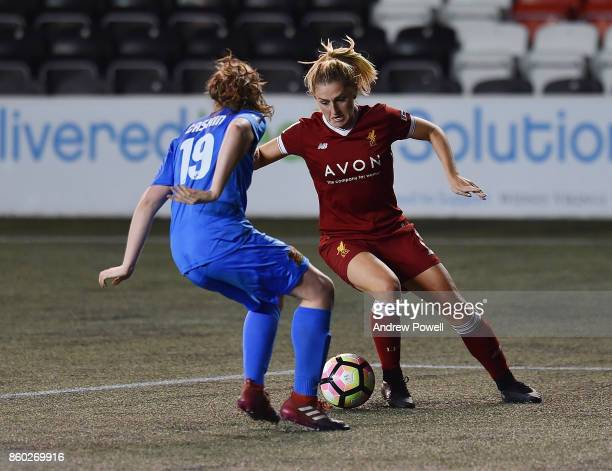 Laura Coombs of Liverpool Ladies competes with Niamh Cashin of Sheffield FC Ladies during the Women's Super League match between Liverpool Ladies and...