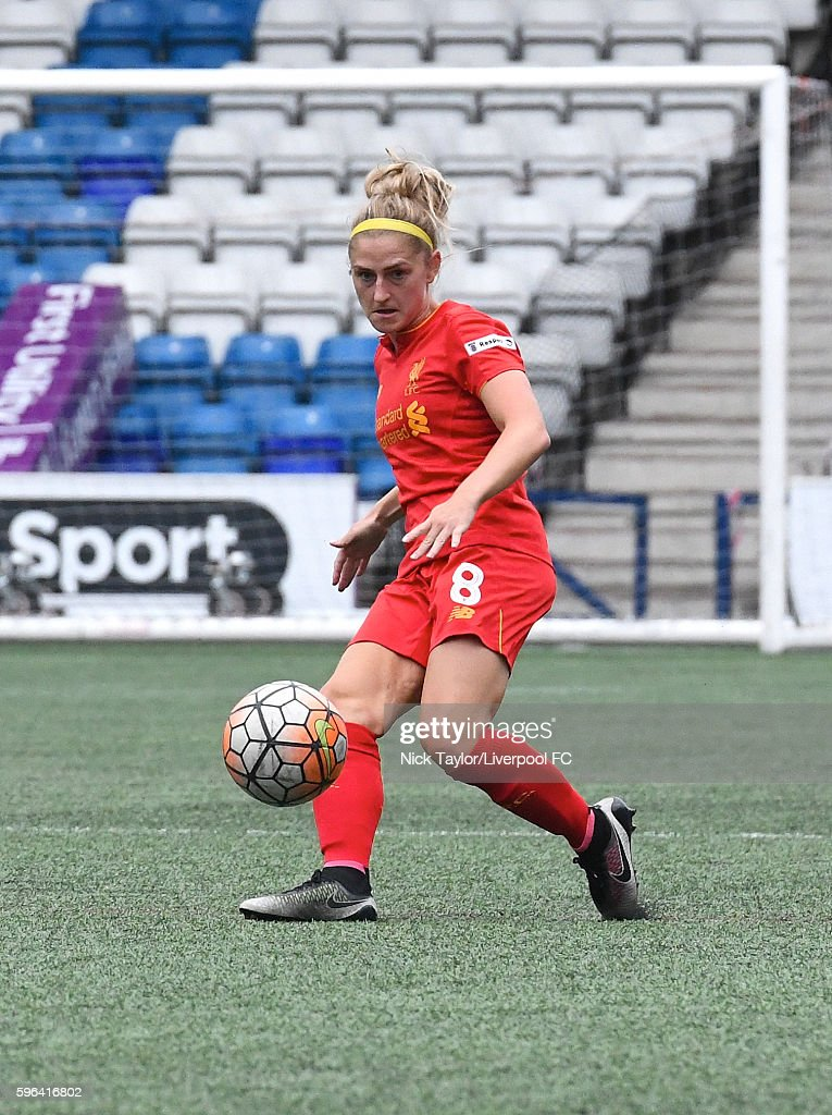 Laura Coombs of Liverpool Ladies in action during the Liverpool Ladies v Doncaster Rovers Belles WSL 1 match on August 27 2016 in Widnes England
