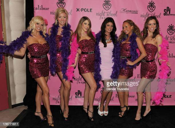 Laura Croft and the cast of Fantacy arrives at the 'Night School 4 Girls' grand opening on October 7 2011 in Las Vegas Nevada