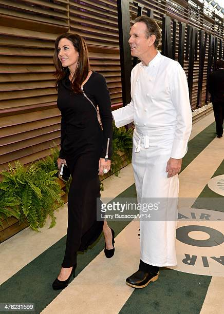 Laura Cunningham and Chef Thomas Keller attend the 2014 Vanity Fair Oscar Party Hosted By Graydon Carter on March 2 2014 in West Hollywood California