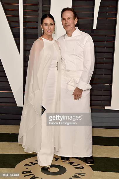Laura Cunningham and Chef Thomas Keller attend the 2015 Vanity Fair Oscar Party hosted by Graydon Carter at Wallis Annenberg Center for the...