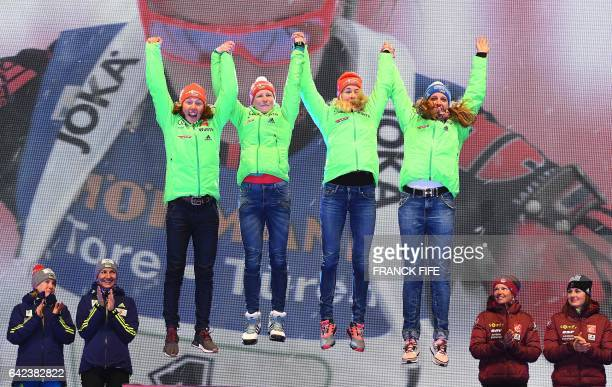 Laura Dahlmeier Franziska Hildebrand Maren Hammerschmidt and Vanessa Hinz of Germany celebrate on the podium of the 2017 IBU World Championships...
