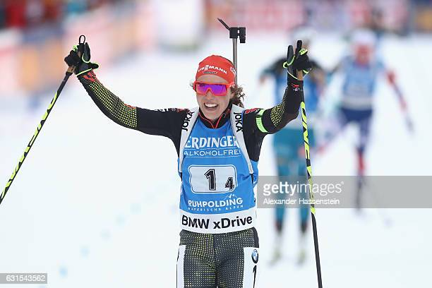 Laura Dahlmeier of Germany celebrates on the finish line winning the 4x6 km Women's Relay during the IBU Biathlon World Cup at Chiemgau Arena on...
