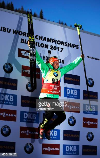 Laura Dahlmeier of Germany celebrates victory in the Women's 15km Individual competition of the IBU World Championships Biathlon 2017 at the Biathlon...