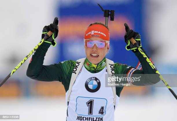 Laura Dahlmeier of Germany celebrates winning the Women's 4x 6km relay competition of the BMW IBU World Cup Biathlon on December 10 2017 in...