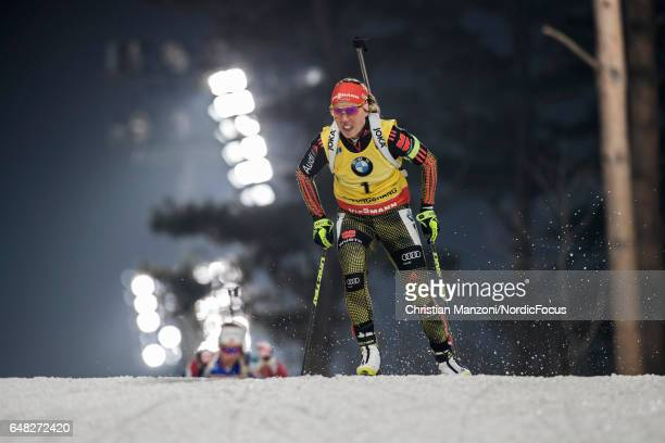 Laura Dahlmeier of Germany competes during the 10 km women's Pursuit on March 4 2017 in Pyeongchanggun South Korea
