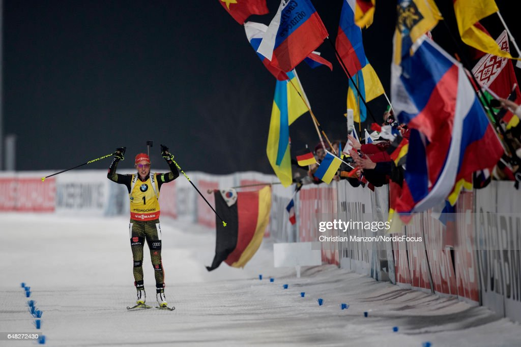 Laura Dahlmeier of Germany competes during the 10 km women's Pursuit on March 4, 2017 in Pyeongchang-gun, South Korea.