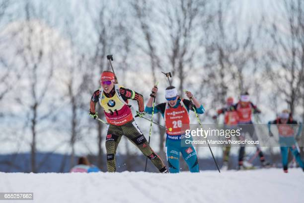 Laura Dahlmeier of Germany competes during the 10 km women's Pursuit on March 18 2017 in Oslo Norway