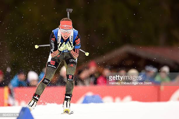 Laura Dahlmeier of Germany competes during the IBU Biathlon World Cup Men's and Women's Sprint on January 8 2016 in Ruhpolding Germany