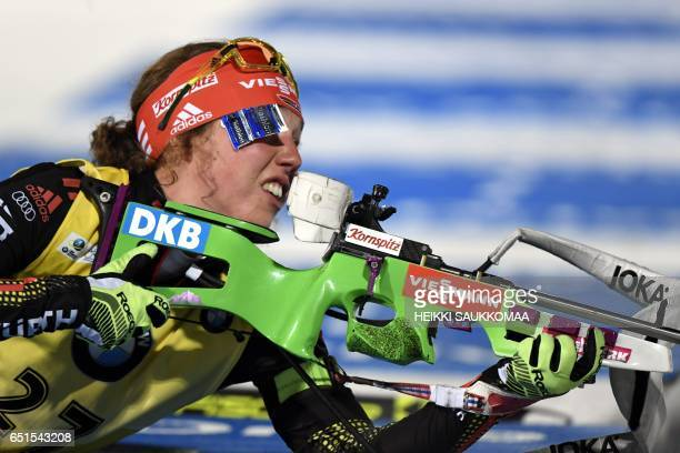 Laura Dahlmeier of Germany competes during the ladies' 75 km sprint at the IBU Biathlon World Cup at Kontiolahti Finland on March 10 2017 / AFP PHOTO...