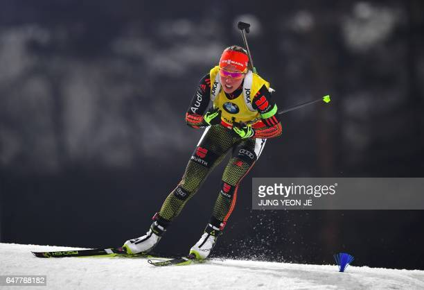 Laura Dahlmeier of Germany competes during the women's 10 km pursuit event of the Biathlon World Cup at the Alpensia Biathlon Centre in Pyeongchang...